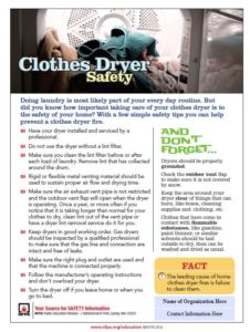 clothes dryer safety tips from the national fire prevention agency